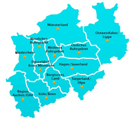 Karte Ruhrgebiet Städte.Fensterreinigung Städte Nordrhein Westfalen Gelford Gmbh